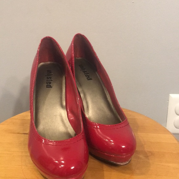 1ebeff0091b Unlisted Shoes | Red Patent Leather Platform Heels | Poshmark